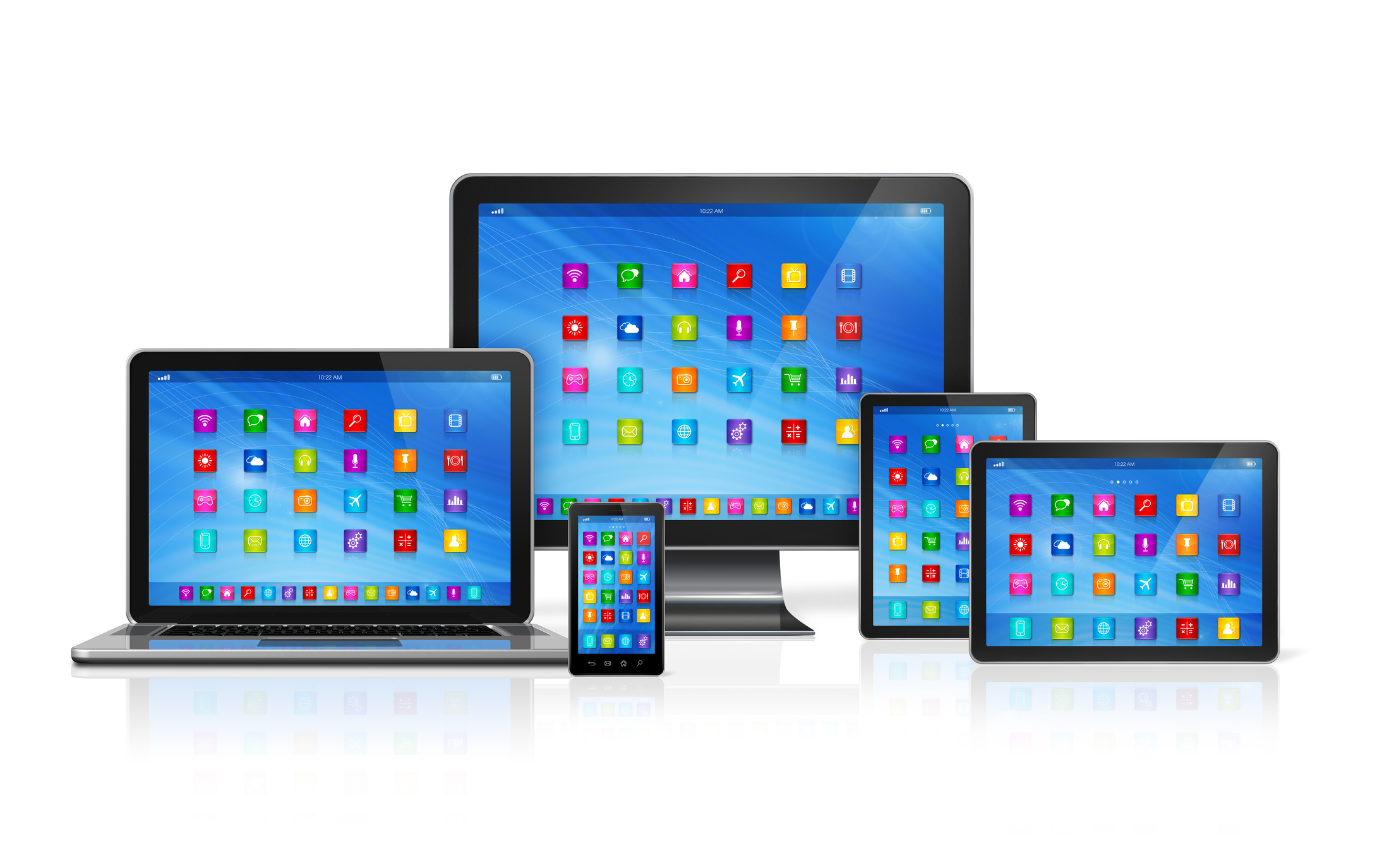 3D Smartphone, Digital Tablet Computer, Laptop and Monitor isolated on white with clipping path
