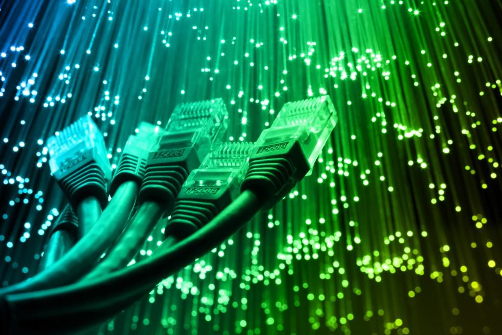 ethernet cable with Fiber optics light internet concept