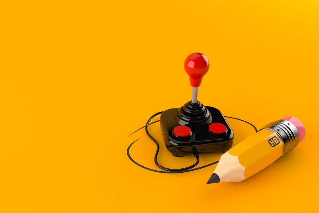 retro Joystick with pencil