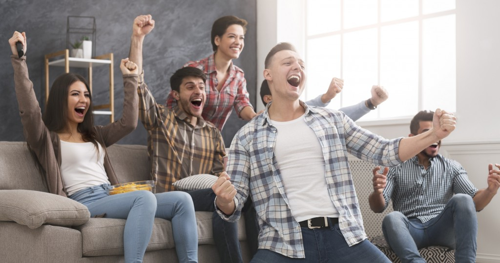 Uni students excited by the television