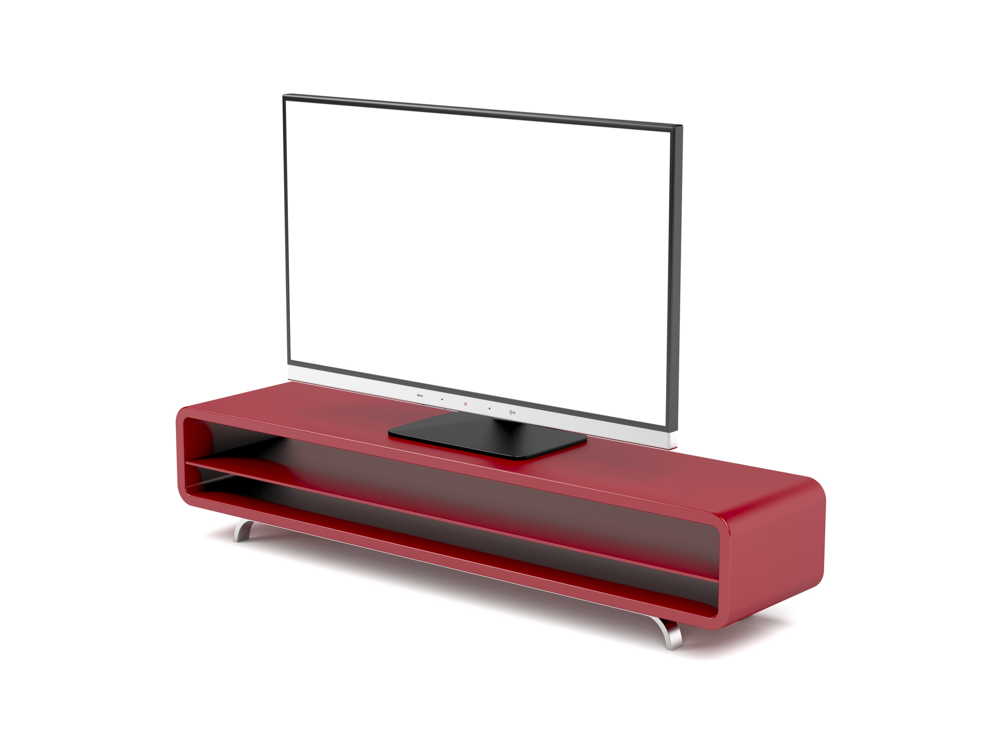 Tv with stand on white background