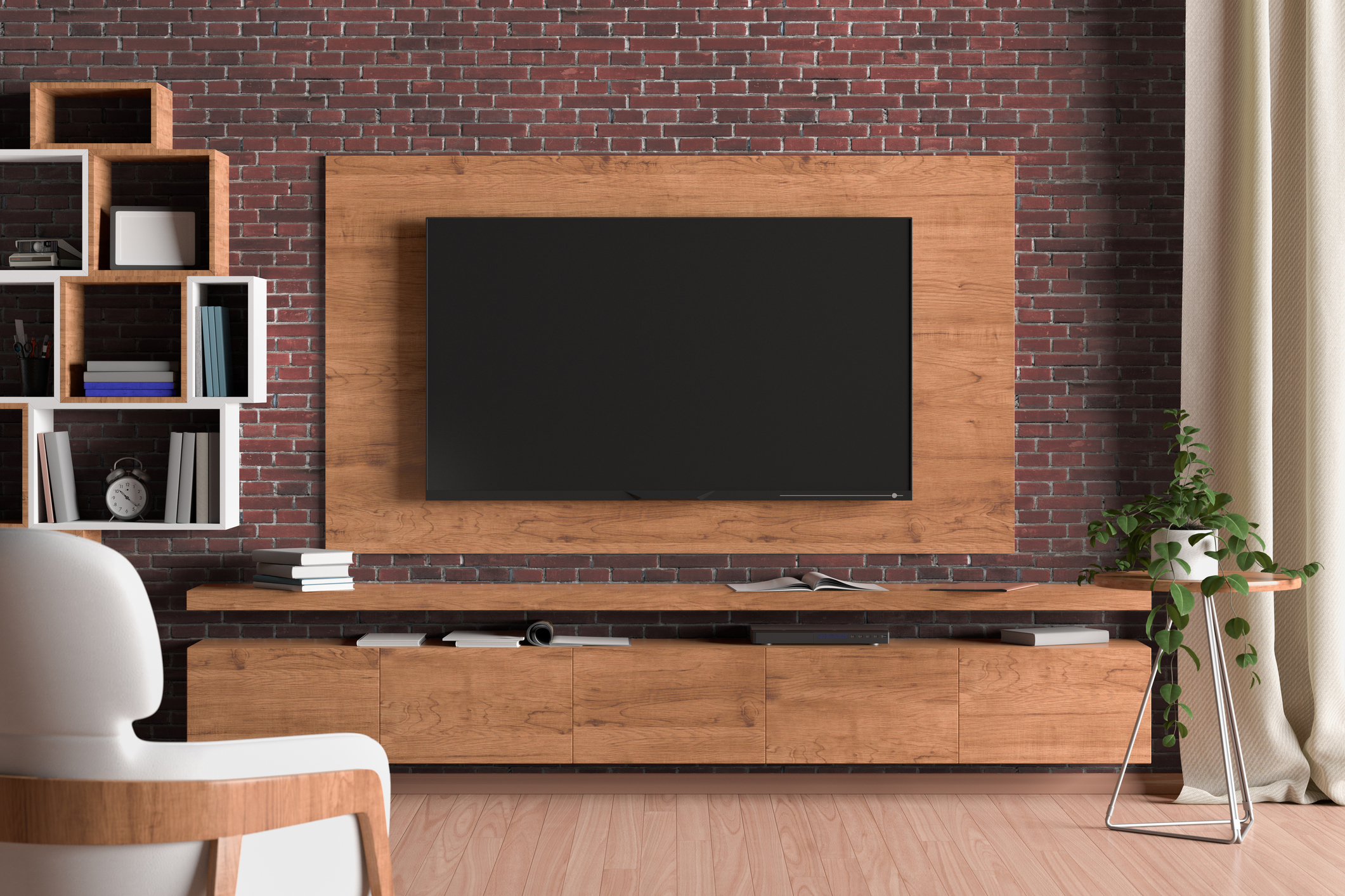 TV screen on the wall with wooden plate above the cabinet in modern living room with brick wall, armchair, bookshelf, curtain, plant. 3d illustration